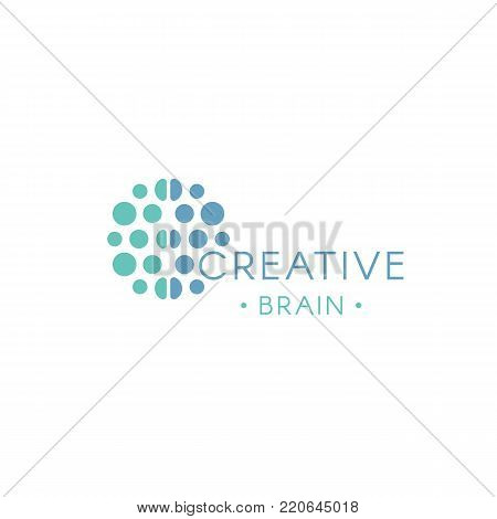 Circles, abstract logo. Creative brain vector logotype. New technology illustration. Innovation idea icon