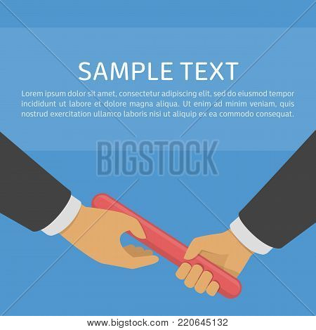 Business Relay, Teamwork or Collaboration concept. Two businessman passed from hand to hand relay baton. Vector illustration in flat style. EPS 10.