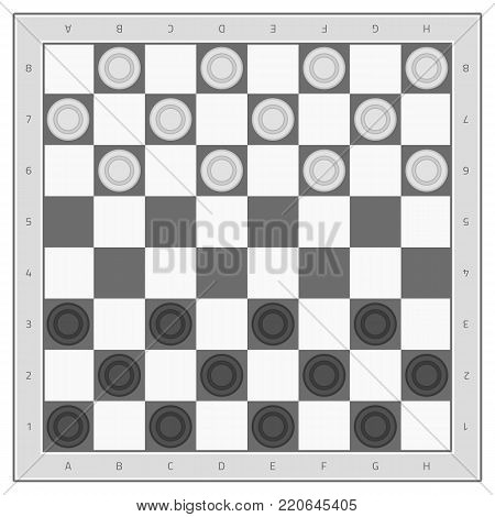 Checkers game board in flat style. Ancient Intellectual game. Vector illustration. EPS 10.