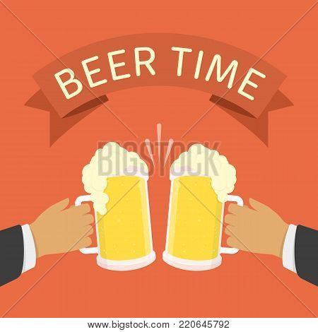 Two men holding beer mugs. Beer glasses foam clinking, meeting friends, toasting or beer festival concept. Light alcoholic drink, cool foam. Vector illustration in flat style. EPS 10.