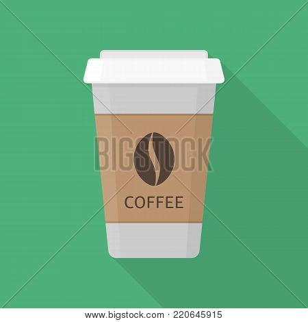 Coffee icon with long shadows. Takeaway coffee paper cup sign. Vector illustration in flat style. EPS 10.