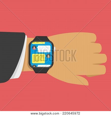 Smart watch on businessman hand with bubbles message on screen. Chatting with chatbot on digital watches. Communication concept in flat style. Vector illustration. EPS 10.