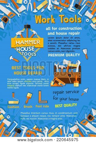 House construction or home repair work tools poster of woodwork grinder, carpentry and house renovation hammer, drill and saw. Vector handyman toolbox of plaster trowel and paint brush in toolbox