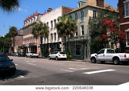 Commercial shops and offices along Broad Street in historic downtown Charleston, South Carolina