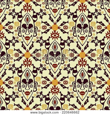 Hand drawn vector seamless pattern with Tribal mask ethnic. Sketch for your design, wallaper, textile, print. African culture. Fabric afro ornament. Coloful batik art. Brown colors