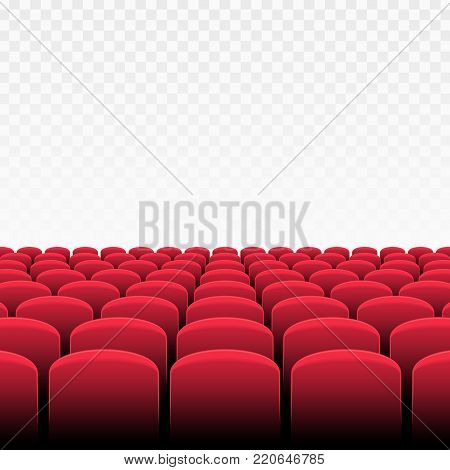 Rows of red cinema or theater seats on transparent background. Vector illustration of Movie Theater with row of chairs. Premiere event template. Realistic style.