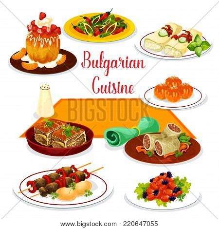 Bulgarian cuisine icon of lunch with dessert. Tomato pepper stew, grilled beef kebab, meat stew with bean, vegetable casserole, baked cheese, cabbage roll with rice and meat, rum cake and donut