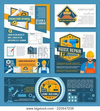 House construction and home repair banner template set. Construction site with equipment, builder and work tool spanner, drill, wrench, pliers, tape measure and drawing for business card, flyer design