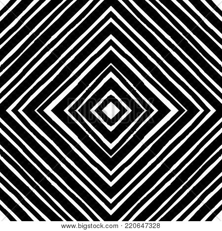 Seamless abstract diamond pattern. Hand drawn stripes in rhomboid layout, black outlines on white background. Grunge texture, relaxed geometry. Textile print. Wallpaper.