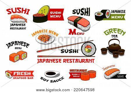 Sushi icons for Japanese restaurant menu. Vector set sushi roll, vegetable guncan or salmon maki and tuna sashimi, eel nigiri or seafood noodles and tempura shrimp prawn on rice and chopsticks