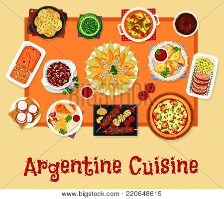 Argentinian cuisine icon. Grilled and baked beef, meat pie empanada, meat vegetable stew, herb sauce, onion tomato pizza, bean salad, chicken corn roll, cookie with milk caramel, dried fruit cake