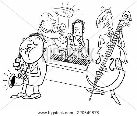 Musicians Characters Playing Jazz Color Book