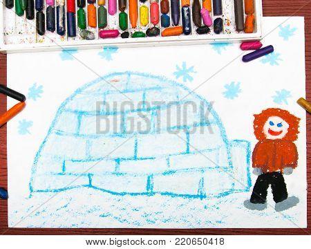 Colorful drawing - Eskimo with his igloo