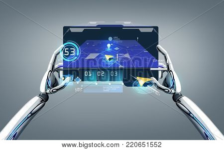 science, navigation and future technology concept - robot hands holding tablet pc with gps navigator map on screen over gray background