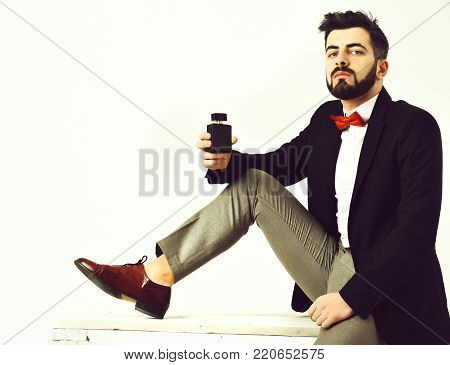 Bearded Man, Caucasian Hipster With Moustache Holding Perfume Bottle