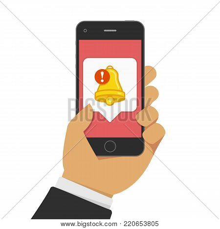 Smartphone with notifications icon in businessman hand. New notification Bell of Notice on mobile phone screen. Vector illustration of new message or other notice. Flat style. EPS 10.