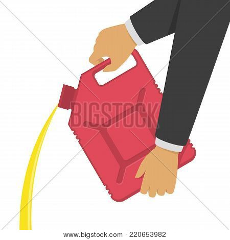 Red canister with gasoline or motor oil in car mechanic hands. Replacement Motor Oil or refueling fuel concept. Vector illustration in flat style. EPS 10.