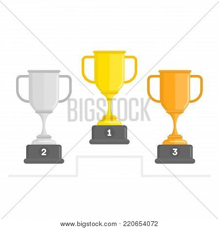 Winners Cup set. Gold, silver and bronze winners cup in flat style. Collection of Champions Cups isolated on white background. Award or Winners Prize concept. Vector illustration EPS 10.
