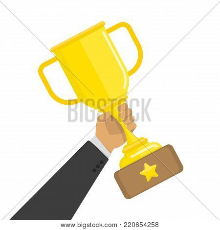 Gold cup in hands. Hand holding winners trophy award. Business goal achievement concept. Vector illustration of victory, awards, competition winner. Flat, cartoon style. EPS 10.