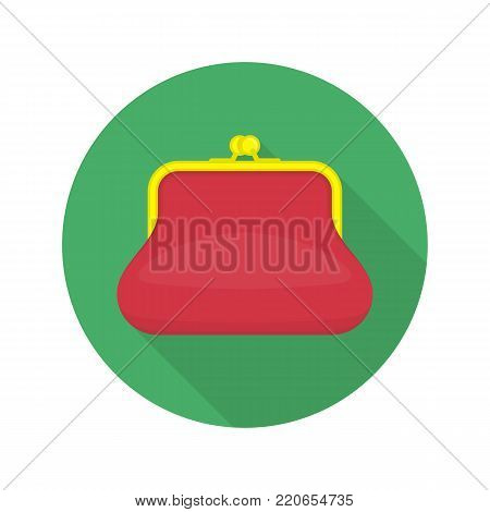 Red purse icon with long shadows. Ladies Purse sign in flat style. Vector wallet symbol isolated on white background.