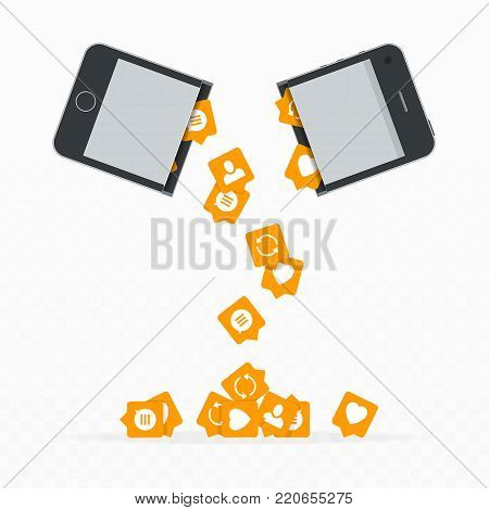 Social media icons fall out of the mobile phone. Open smartphone with application icon. Concept of social network rating. Smartphone and push notification heart symbol, comments, re-post, followers.