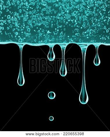 Stretched drops of cosmetic gel fall down on black background. 3d illustration