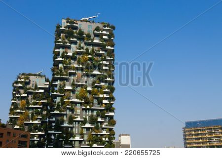 MILAN, ITALY-OCTOBER 30, 2016: Skyscraper Vertical Forest view. Modern district of Porta Nuova in Milan.