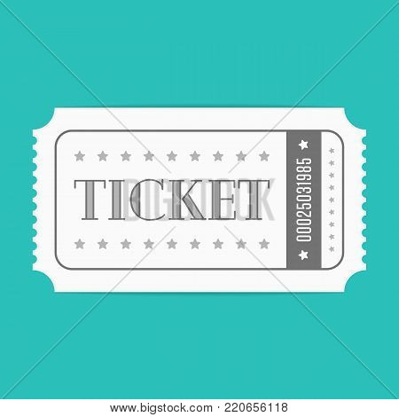 Ticket icon on isolated on green background. Retro cinema tickets in flat style. Vector illustration EPS 10.