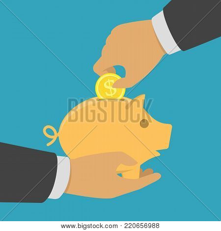 Hand putting gold coin in piggy bank. Money box in businessman hands. Savings, investment, donations, charity or money saving. Vector illustration in flat style. EPS 10.