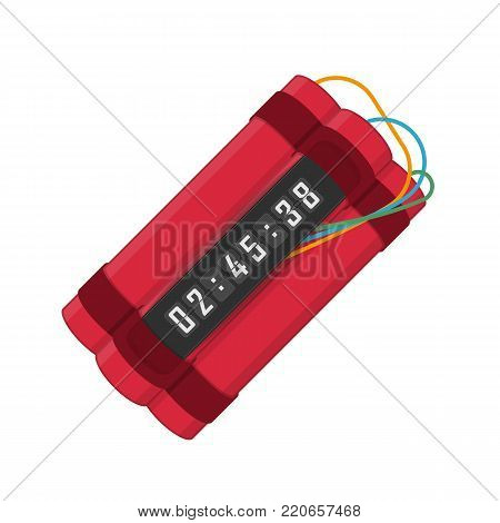 Red dynamite with digital timer. Bomb explosion with clock detonate and wire. Destruction and terror concept. Dangerous pyrotechnic equipment. Vector illustration in flat style. EPS 10.