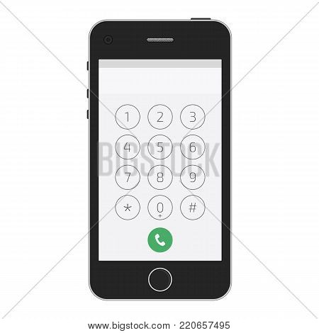 Keypad for on smartphone screen. Application Interface on mobile phone. Vector illustration of a keypad for a touchscreen device. EPS 10.