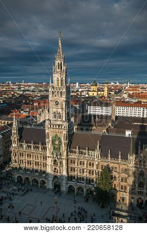 MUNICH, GERMANY - JANUARY 1, 2018: Tower of the New Town Hall in Munich with christmas tree, Germany