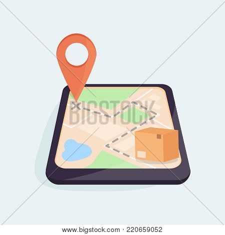 Brown closed carton parcel located on the GPS map, move to the map pointer. Mobile device with a map on the screen. Shipping parcel tracking order concept. Illustration