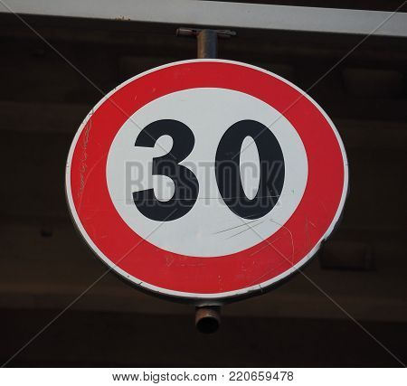 Regulatory signs, maximum speed limit 30 traffic sign