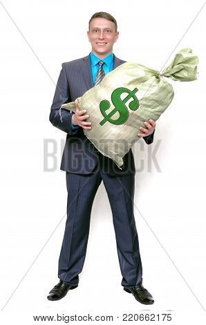 Business man with profit money bag. The lucky winner. Love for money.