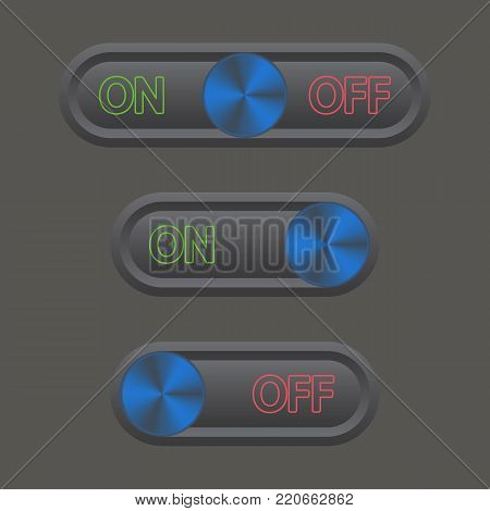 Icon set On and Off Toggle switch button. Vector illustration.