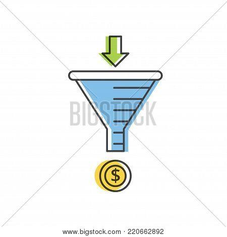 Sale Funnel vector line icon. Internet marketing strategy concept.