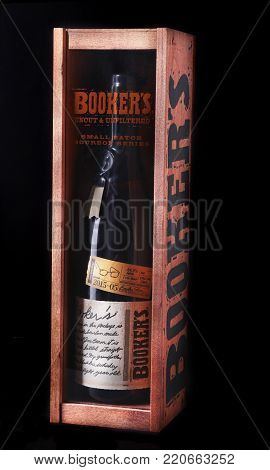 Grodno, Belarus, January 03, 2018 , Booker's, Kentucky straight bourbon whiskey in exclusive wooden gift box