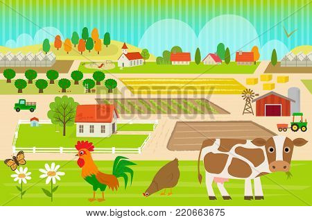 Colorful, farmland pattern with cow, hen and rooster. Eps10