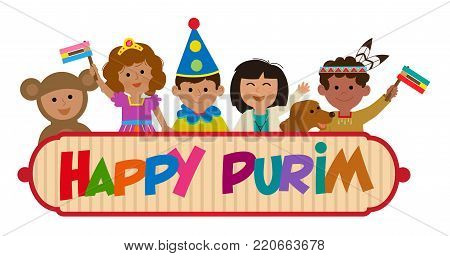 Happy Purim banner with kids wearing costumes. Eps10