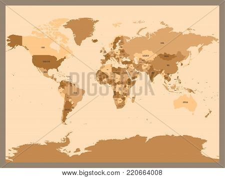 Old vintage or retro style map of World. Political map in shades of brown ang beige. Simple flat vector illustration.