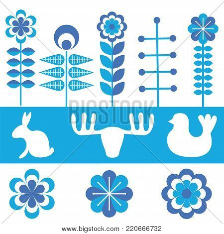 Scandinavian folk style pattern set. Stock vector illustration of finnish nordic swedish norvegian floral elements in white and blue colors.