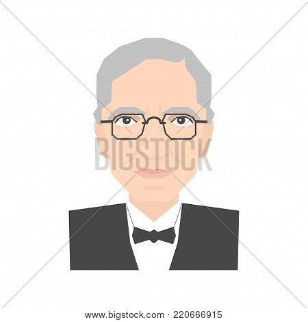 Famous scientist Alexander Flemming portrait isolated on white background. Stock vector illustration of a biologist who discovered antibiotics.