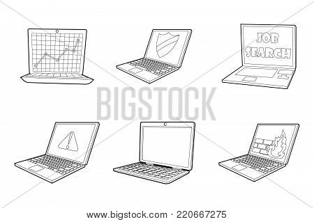 Laptop icon set. Outline set of laptop vector icons for web design isolated on white background