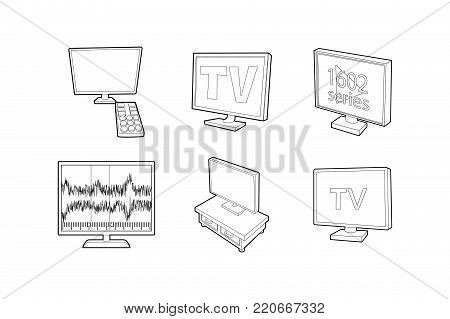 Tv set icon set. Outline set of tv set vector icons for web design isolated on white background