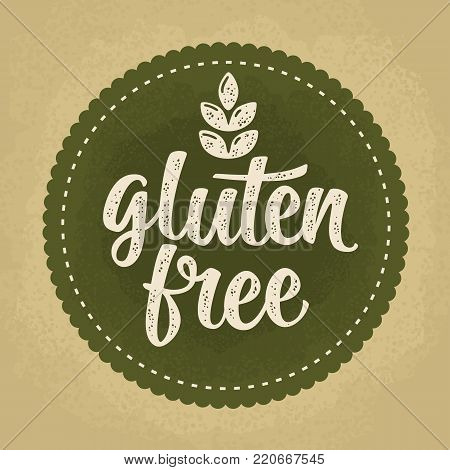 Gluten free lettering with leaf. Vector beige vintage illustration isolated on dark green circle sticker. Old paper background.