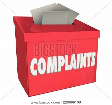 Complaints Comments Bad Negative Feedback Box 3d Illustration