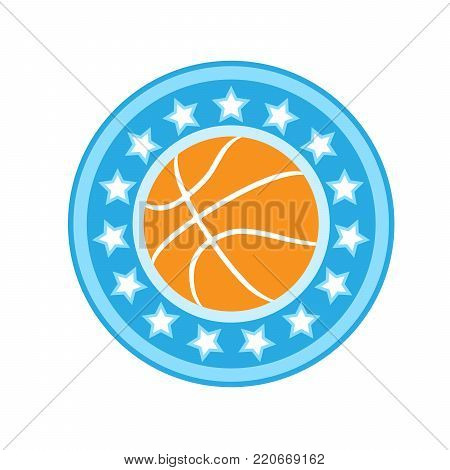 Basketball emblem with ball in starry frame