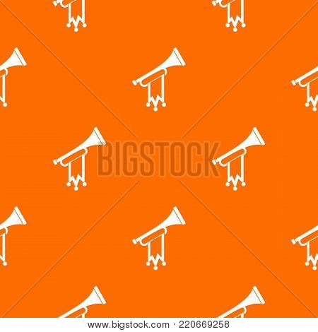 Trumpet with flag pattern repeat seamless in orange color for any design. Vector geometric illustration