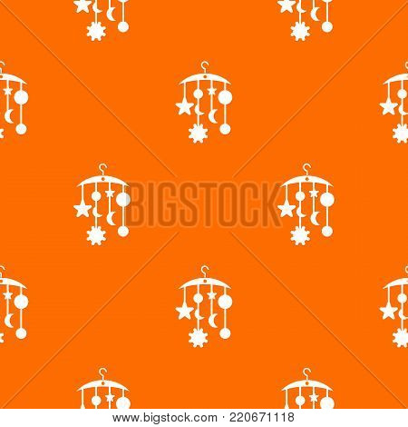 Baby bed carousel pattern repeat seamless in orange color for any design. Vector geometric illustration